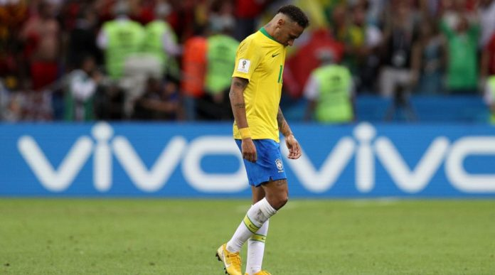 KAZAN, RUSSIA - JULY 06: Neymar Jr of Brazil looks dejected following his side defeat at the 2018 FIFA World Cup Russia Quarter final match between Brazil and Belgium at Kazan Arena on July 6, 2018 in Kazan, Russia. (Photo by Buda Mendes / Getty Images)