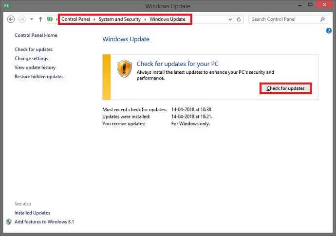 Check Window update