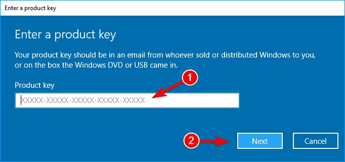 Enter the product key