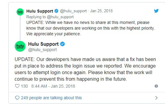 Hulu support twitter