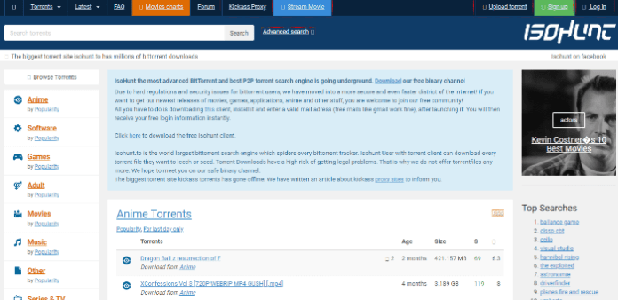 isohunt bittorrent search engine
