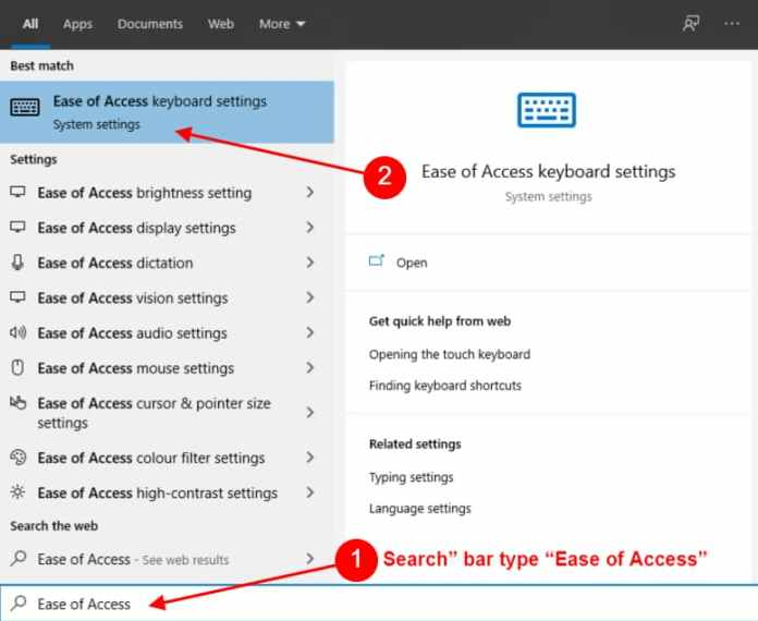 Search bar type Ease of Access