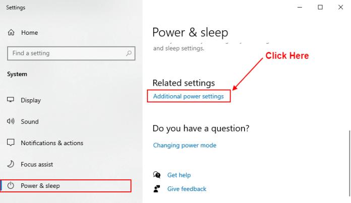 additional power settings windows 10