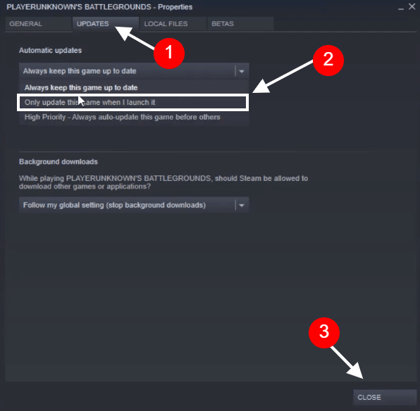 change steam update settings