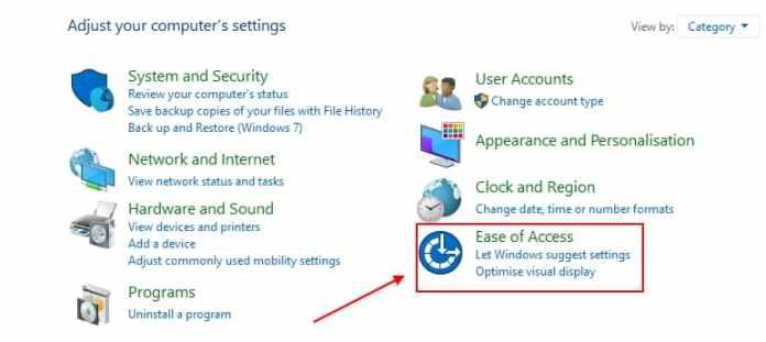 ease of access windows 10