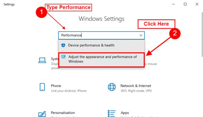performance settings windows 10