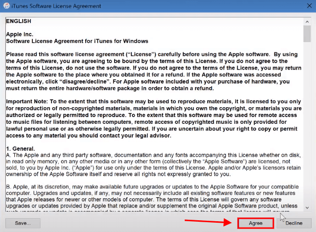 click on agree to itunes software license agreement