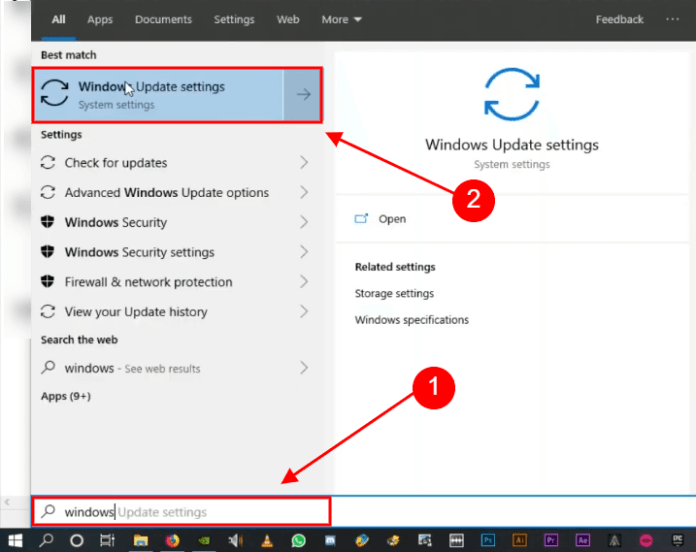 open windows update settings