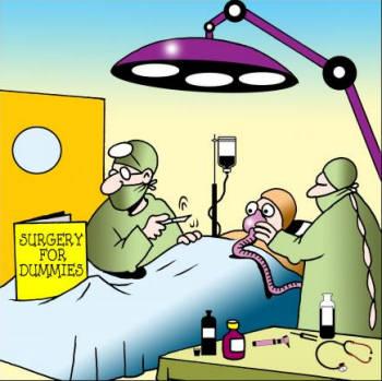 Surgery for dummies cartoon.