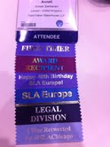 Anneli's badge, with ribbons