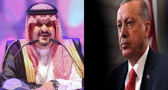 """عبدالرحمن بن مساعد ضاحكًا على مواقف أردوغان: """" يكفي هذا """""""