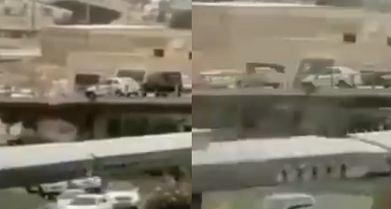 بالفيديو.. قائد سيارة ينجو من سقوط محقق من أعلى كوبري بالرياض
