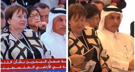 وزير المالية القطري في مصيدة المصورين بورشة صفقة القرن بالبحرين