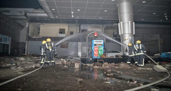 السيطرة على حريق هائل اندلع بمحطة وقود في حائل