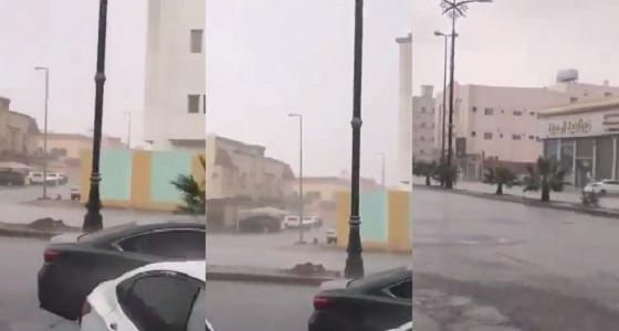 بالفيديو.. أمطار وسيول غزيرة في تبوك