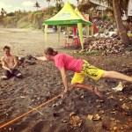 teaching russian slackline slacklining bali surf jam 2015 buddy thomas yoga slackers