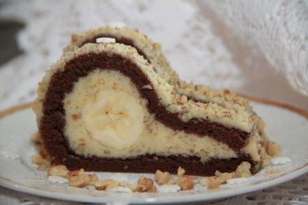 slonie slzy, banánový koláč, banánová roláda, orechová roláda s banánom, sladký život