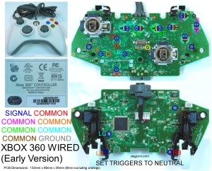 Gaming, Gadgets, and Mods: Xbox 360 and Original Xbox controller PCB diagrams  for mods or