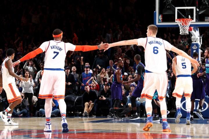 Carmelo Anthony e Kristaps Porzingis ai New York Knicks | numerosette.eu