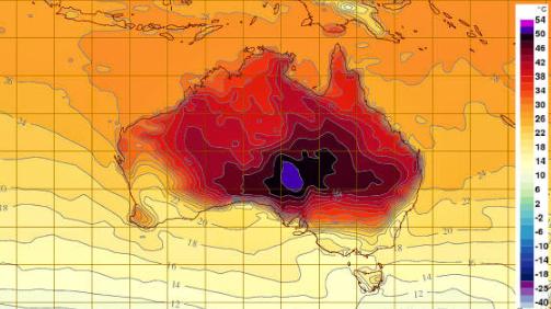 Silk Road - Deep Purple Weather Map - Record Heat
