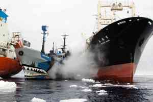 SSS Bob Barker disrupting Japanese whale poachers in Southern Ocean Whale Sanctuary