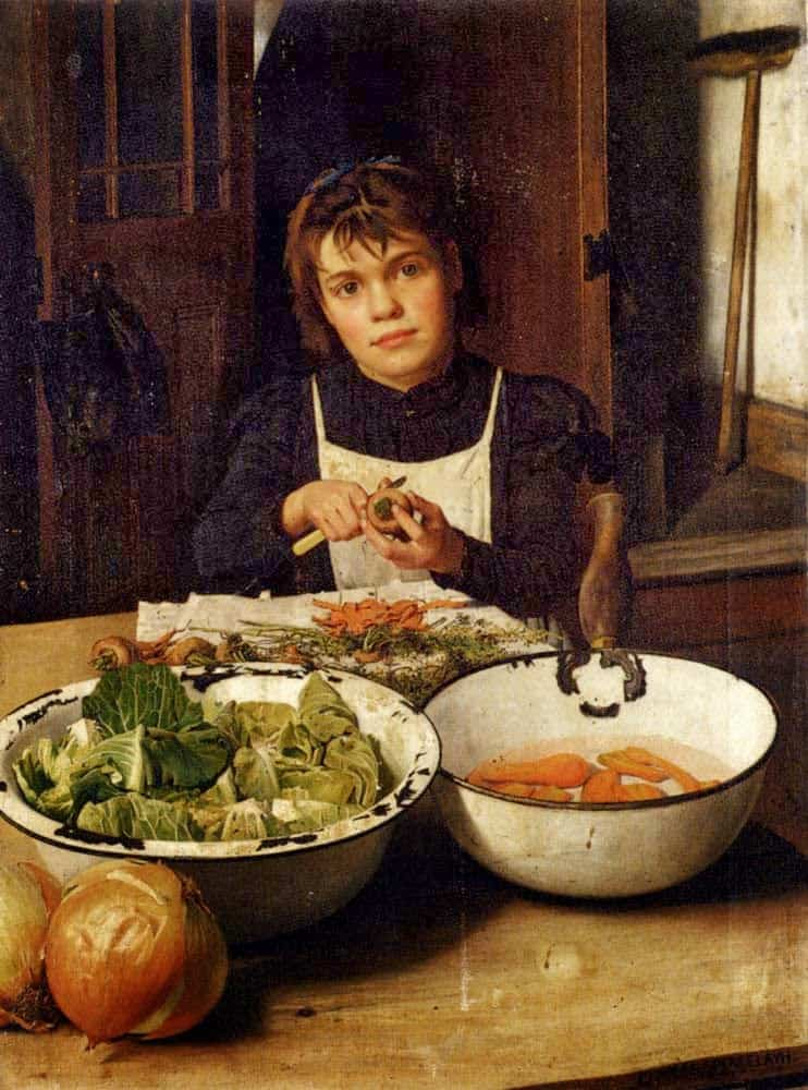 Charles Spencelayh - Helping Mother 1899