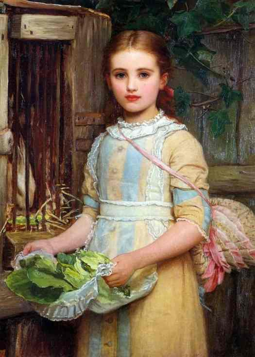 Kate Perugini - Portrait of Agnes Pheobe Burra (aka Feeding the Rabbit)