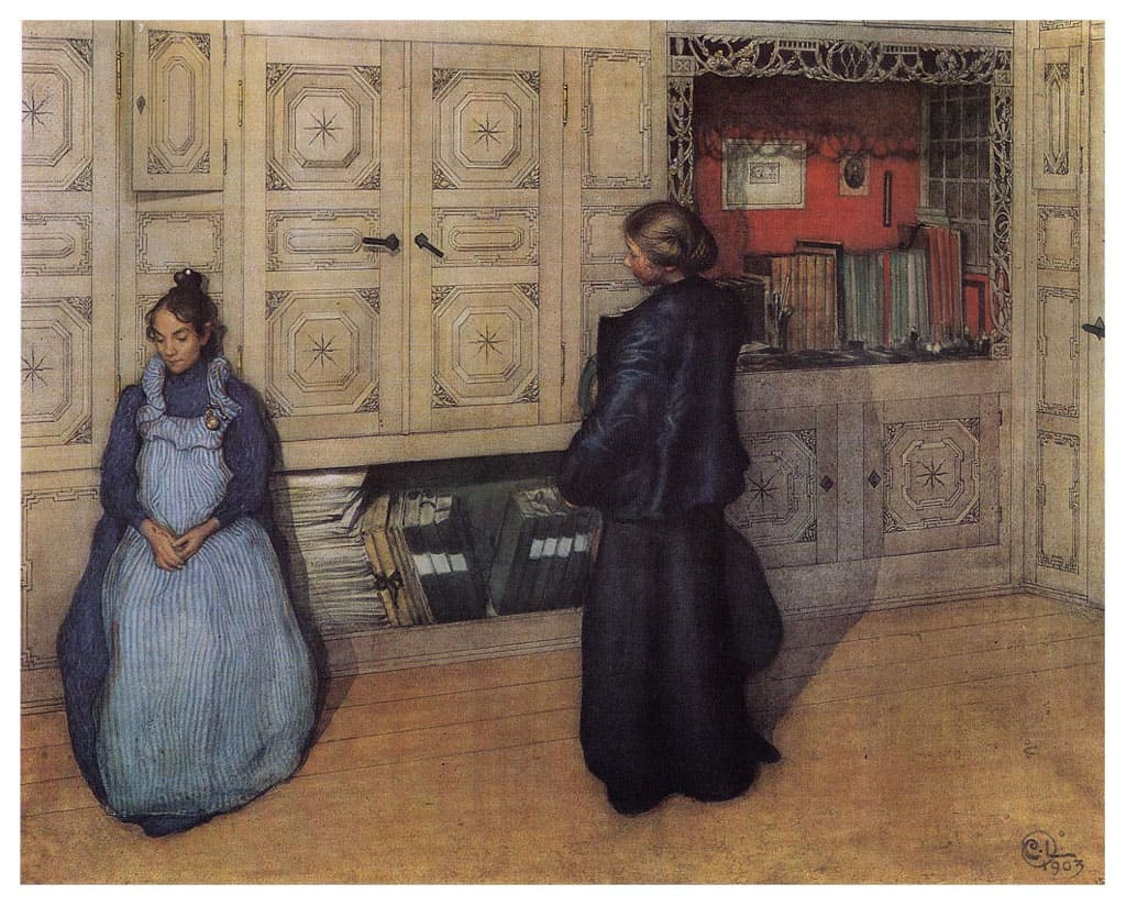 Carl Larsson, two young women talking indoors