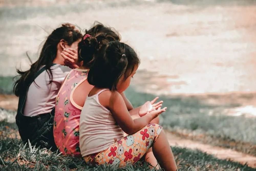 three girls sitting