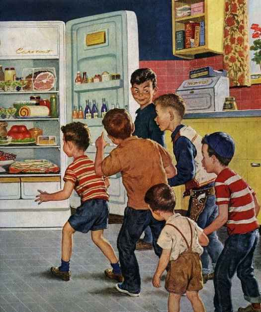 Search and destroy, kids!...The mad rush for an after-school snack. ~ 1955