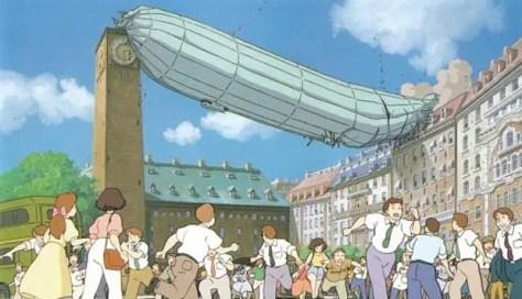 An airship crashes in Miyazaki's Kiki's Delivery Service