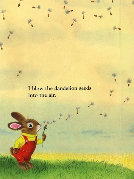 I Am A Bunny by Ole Rissom, illustrated by Richard Scarry. The text in the middle draws reader's eyes to the seeds in the air.