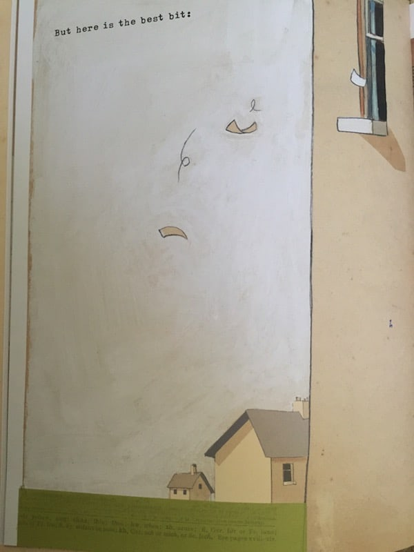 Oliver Jeffers makes much use of negative space. Here it is in The Incredible Book Eating Boy.