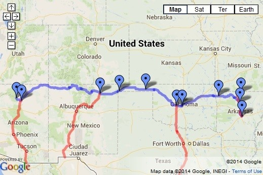 Thelma and Louise Roadtrip map