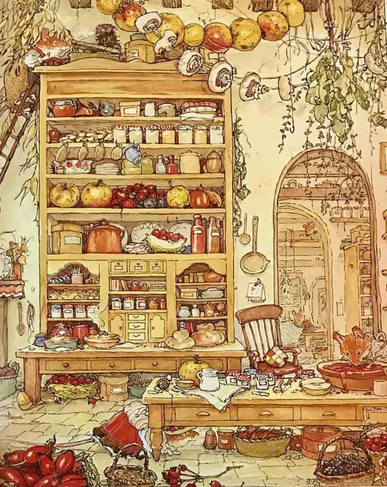 Brambly Hedge. the grand kitchen at the Old Oak Palace. Everyone was searching for Primrose