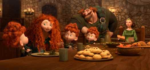 """BRAVE"" (L-R) MERIDA amongst the triplets: HARRIS, HUBERT and HAMISH; KING FERGUS and QUEEN ELINOR. ©2012 Disney/Pixar. All Rights Reserved."