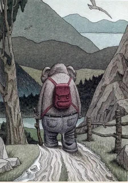 Elefante by Franco Matticchio -- going down into the valley