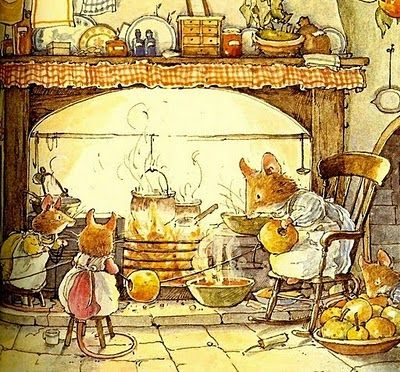 Jill Barclem cooking on the fire