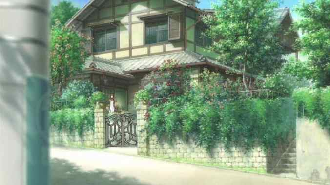 This is the first we see of Makoto's house -- peeking from behind a pole.