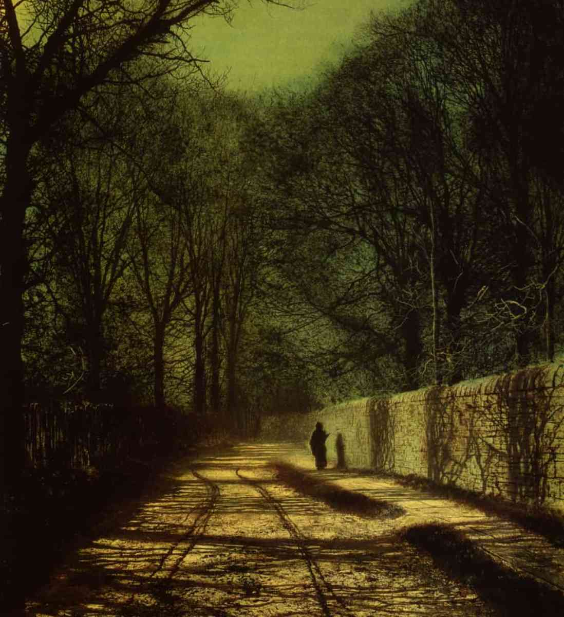 Atkinson Grimshaw - Tree Shadows on the Park Wall, Roundhay Park, Leeds