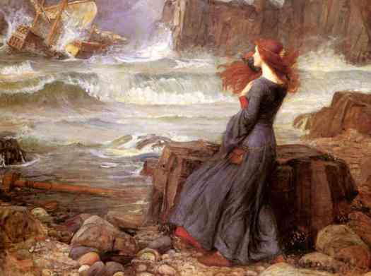 Painting by John William Waterhouse, 1916, Miranda from The Tempest