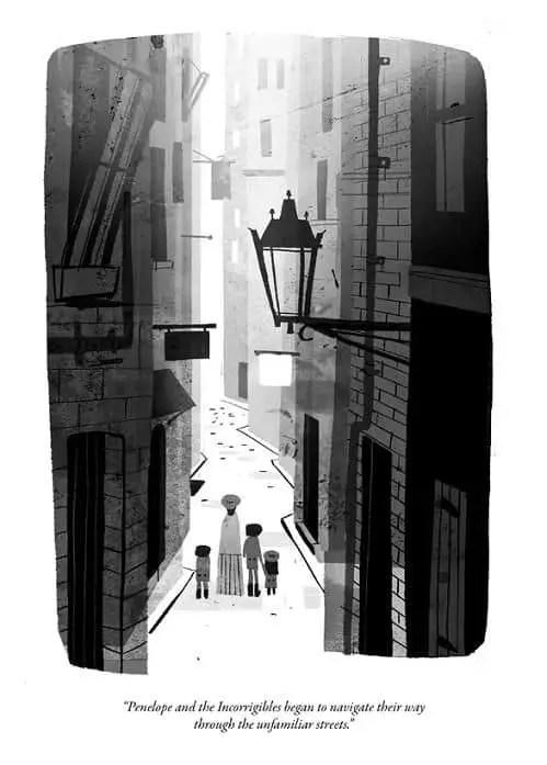 aerial perspective in black and white, by Jon Klassen