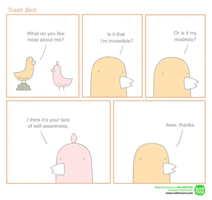 self-revelation parodied in a Trash Bird comic