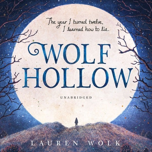 Wolf Hollow cover with night sky and a huge yellow moon