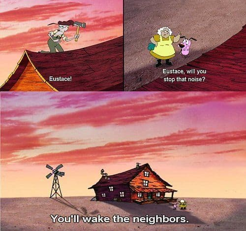ironic distance humour from Courage The Cowardly Dog