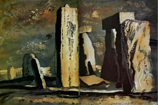 John Piper, (English, 1903-1992), Stonehenge, watercolor, ink and chalk on paper, 1981 rock stone