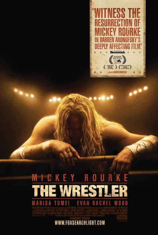 the wrestler movie poster with mickey rourke bending forward looking defeated