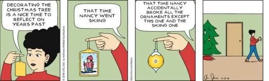 Nancy breaks ornaments