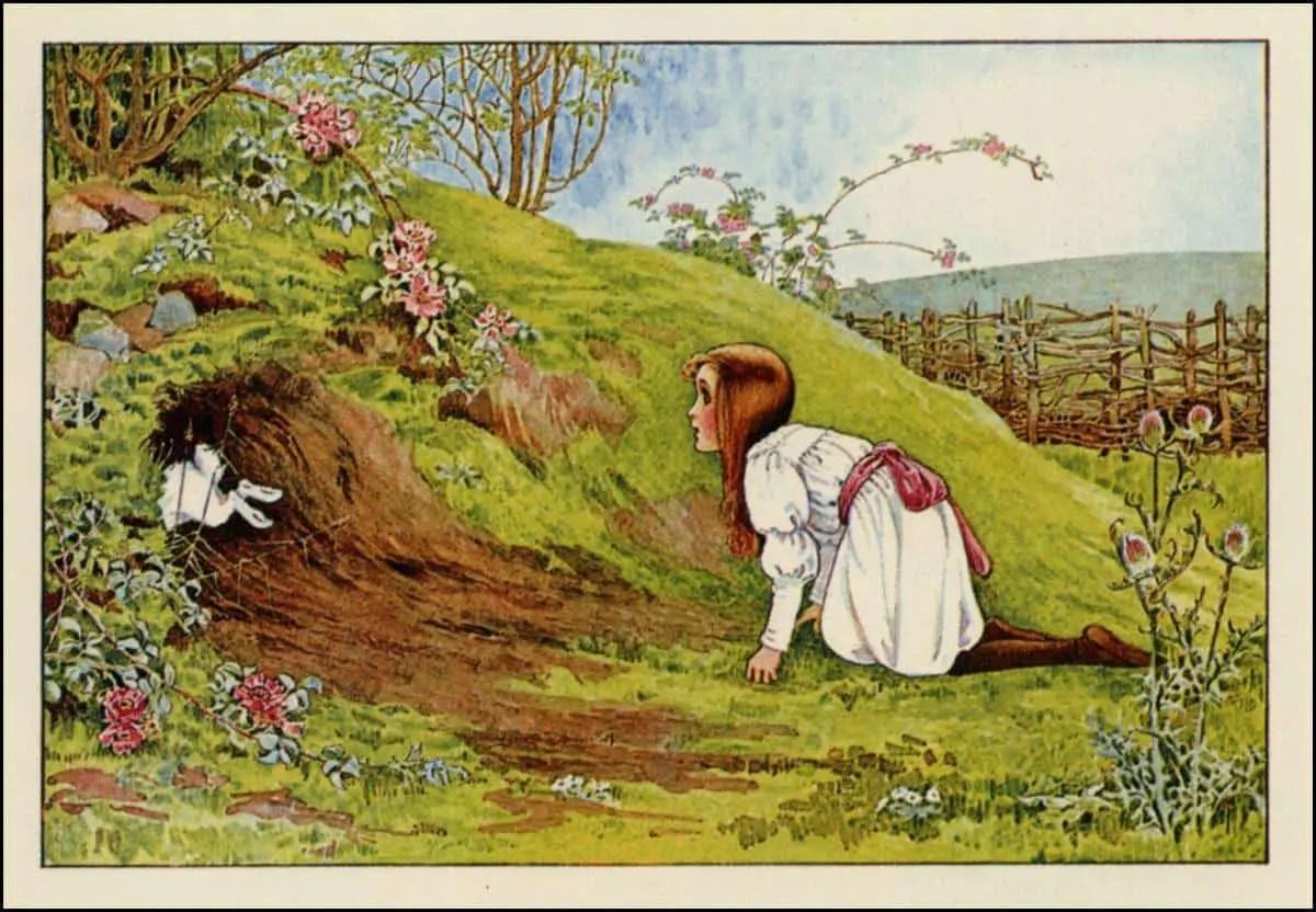 Millicent Sowerby (English, 1878-1967) Alice in Wonderland rabbit hole