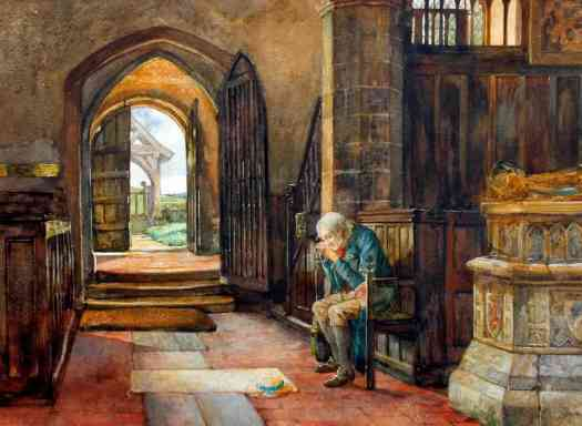 Herbert Thomas Dicksee - Memories, an Old Man Seated in a Church 1885